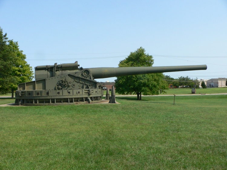 This 16-inch coast artilery gun is said to be the last-surviving one, and is located at the Aberdeen Proving Ground, MD.